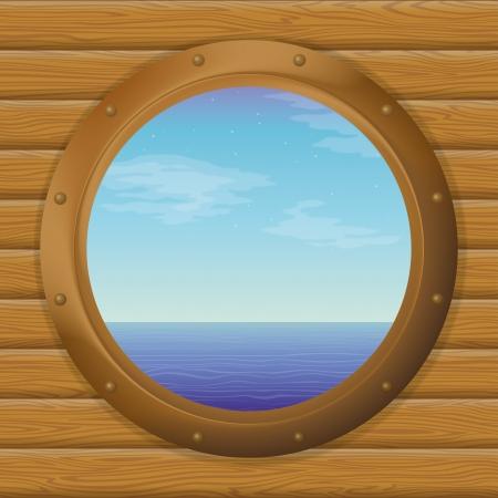 ventana ojo de buey: Mar y cielo azul en una ventana del barco bronce - ojo de buey en una pared de madera contiene las transparencias