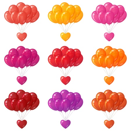 Set of colorful balloons bunches flying with valentine hearts  contains transparencies Stock Vector - 18705679