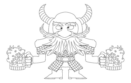 Drunken dwarf warrior in armor and helmet standing with two large beer mugs, funny comic cartoon character, black contour  Vector Vector