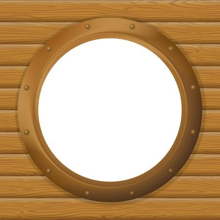 ventana ojo de buey: Ventana redonda barco bronce ojo de buey en la pared de madera con el lugar vac�o blanco