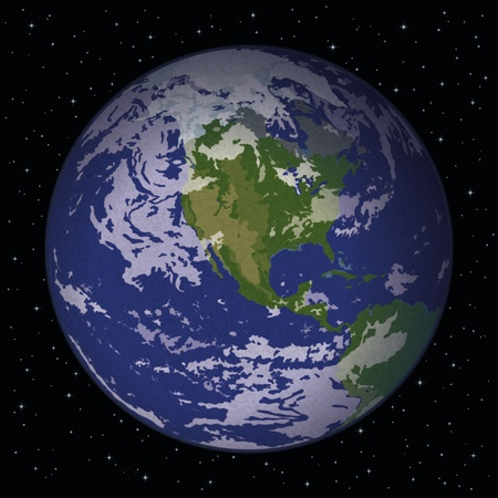 Space background, realistic planet mother Earth Vector