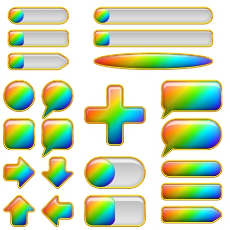 Set of glass buttons of different forms, all colors of the rainbow, elements for web design, contains transparencies Vector