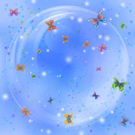Holiday background, beautiful colorful butterflies and stars in big bubble on blue sky Vector