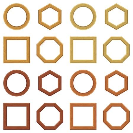 haya: Conjunto de marcos vac�os de madera, de diferentes formas y colores del c�rculo, cuadrado, hex�gono, oct�gono Vector