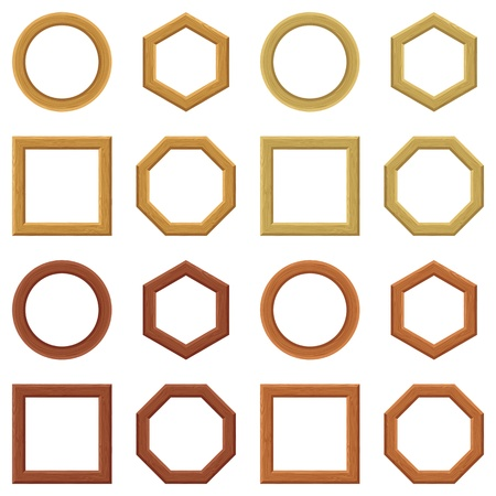 Set of empty wooden frames, different shapes and colors  Circle, square, hexagon, octagon  Vector