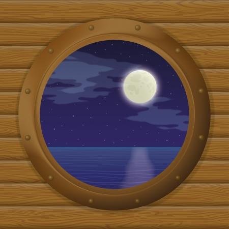 ventana ojo de buey: Noche paisaje de mar, cielo estrellado y la luna en una ventana de buques de bronce - ojo de buey en una pared de madera eps10, vector contiene las transparencias Vectores
