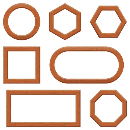 Set of empty wooden frames, different shapes  Vector