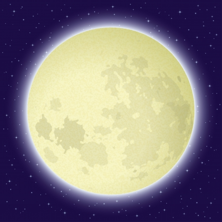 Space background, big bright moon in close-up and night starry sky  Thanks to NASA for the image  Vector eps10, contains transparencies