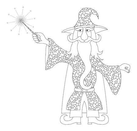 Wizard, cartoon character, in starred costume standing and launching bright stars and rays from his magic wand, black contour  Vector Vector