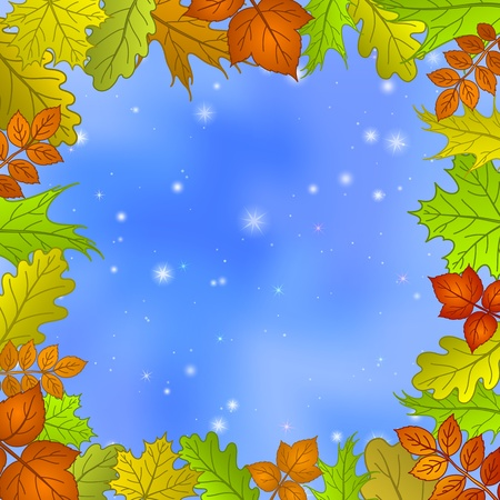 Nature background with framework of leaves of various plants and blue sky  Eps10, contains transparencies  Vector Vector