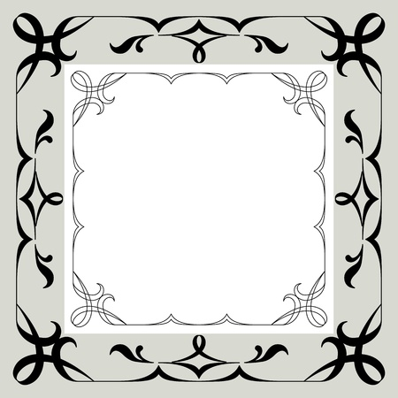 Abstract background with symbolical simple vintage pattern, black and white contour frame on gray  Vector Vector