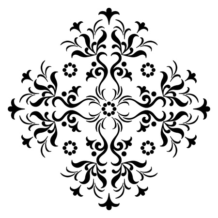 Abstract symbolical floral black pattern, design element, isolated on white  Vector Vector