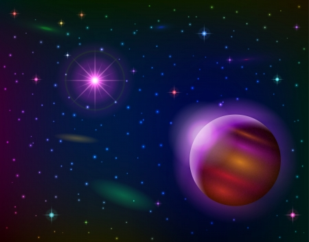 Fantastic space background with unexplored planet, lilac sun, stars and nebulas