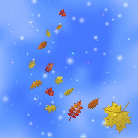 Abstract background with autumn leaves of various plants flying in blue sky, contains transparencies