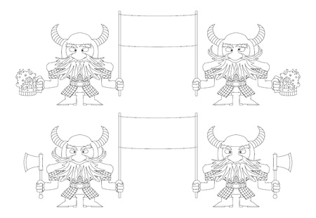 dwarfs: Two pairs of dwarfs warriors holding banners with beer mugs and axes, funny comic cartoon characters, set, black contour  Illustration