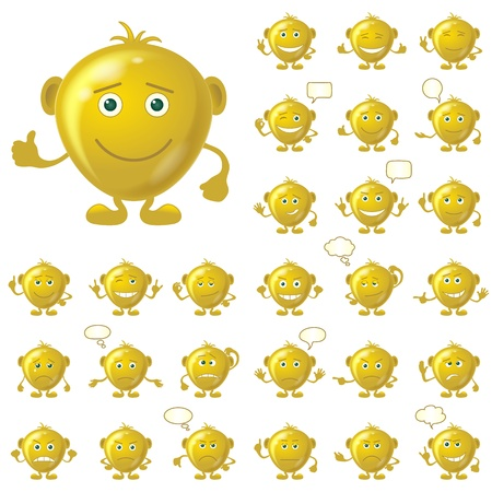 Set of round golden smileys with hands and feet, symbolizing various human emotions, isolated on white background, contains transparencies    Vettoriali