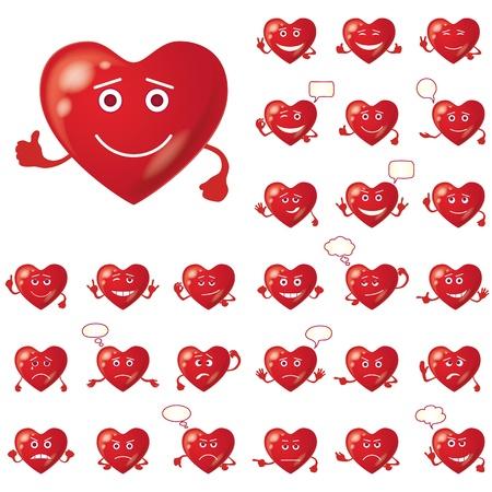smiley pouce: Ensemble de Valentine coeurs smileys, des signes d'amour, symbolisant diverses �motions, contient des transparents Illustration