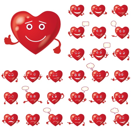 Set of Valentine hearts smileys, love signs, symbolizing various emotions, contains transparencies    Vector