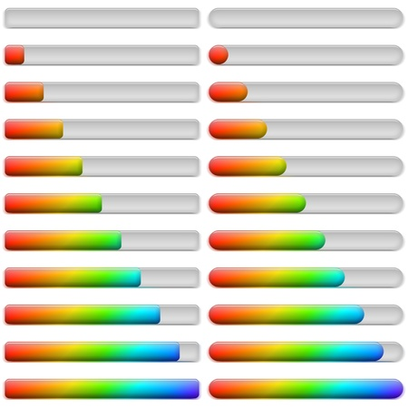 Set of glass colorful loading progress bars at different stages, elements for web design , contains transparencies Vector