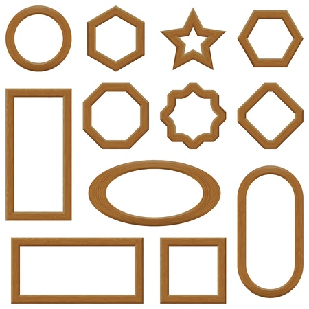 Set of empty wooden frames, different shapes  Vector Stock Vector - 20242976