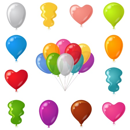 Set of festive balloons of various beautiful colors and shapes, isolated, contains transparencies.