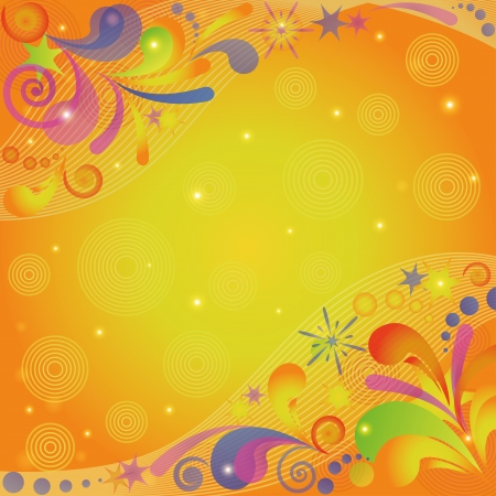 Abstract colorful background with symbolical flourish patterns, figures, circles and lines on orange.
