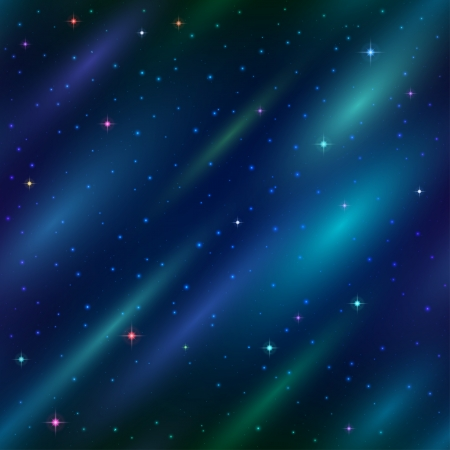 Abstract space seamless background with dark blue sky, stars and color cosmic rays.  Vector
