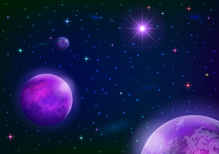 Fantastic space background with three violet planets, sun and stars.  Vector