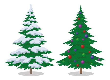 Set of Christmas fir trees with snow and holiday balls, winter symbol, isolated on white.  Vettoriali
