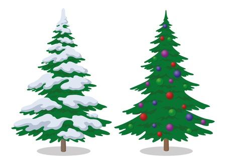 Set van Kerstmis sparren met sneeuw en vakantie ballen, symbool van de winter, geïsoleerd op wit. Stock Illustratie