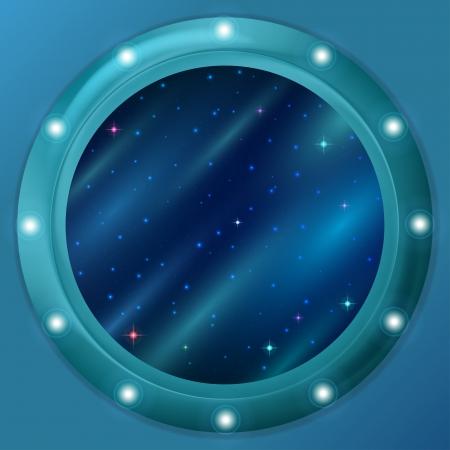 ventana ojo de buey: Fondo abstracto de vacaciones, el espacio azul con estrellas y nebulosas en la ventana redonda ojo de buey en la pared. contiene transparencias.