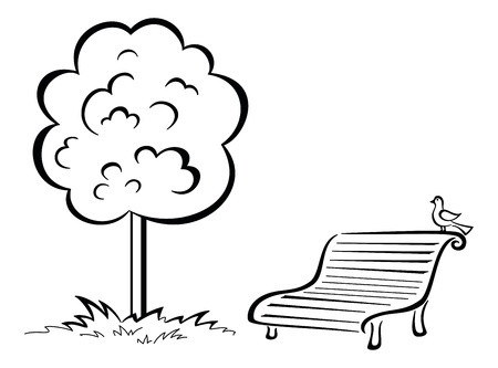 Tree and park bench with sitting bird, black contour isolated on white background. Ilustração
