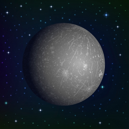 Space background, realistic planet Mercury and stars.  Illustration