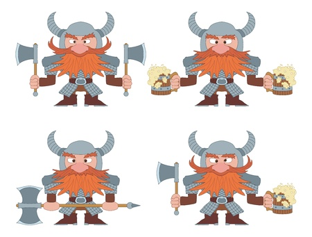 Dwarfs warriors in armor and helmets standing with beer mugs and axes, funny comic cartoon characters, set.  Vector