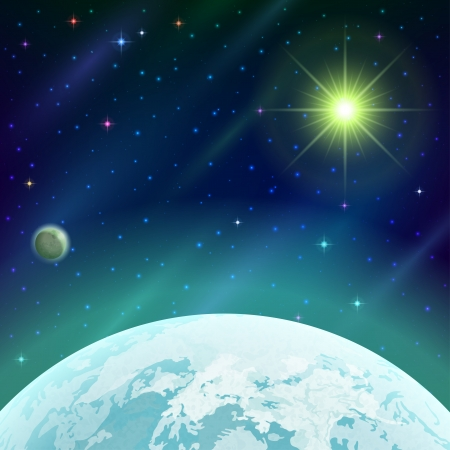 Fantastic space background with unexplored green planet, satellite, sun, stars and nebulas. Contains transparencies