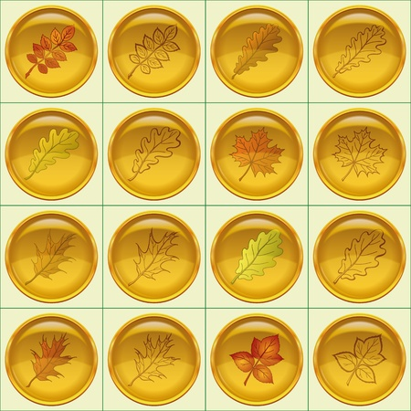 dogrose: Set of yellow round buttons with autumn leaves and pictograms, dogrose, oak, raspberry, oak iberian, maple. Contains transparencies