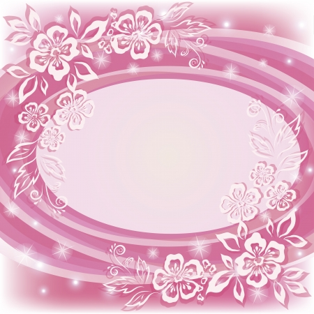 Abstract holiday pink background with symbolical flowers and frame   Vector