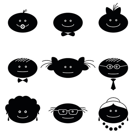 set of black and white family characters  Grandmother, grandfather, mother, father, children    Vector