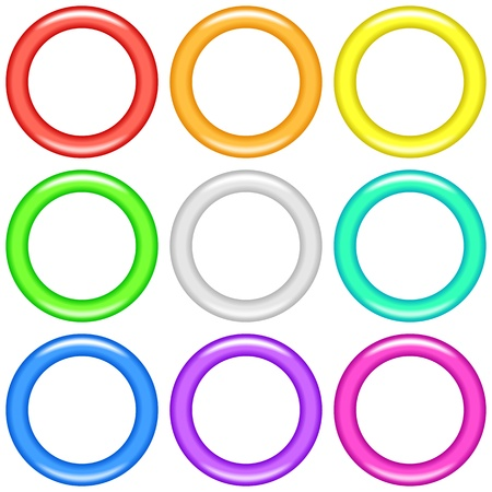 Set of glass rings, of various colors, computer icons for web design, isolated on white background