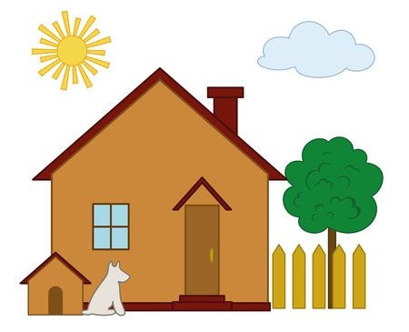 dacha: Country house with the dog kennel and green tree in a garden Illustration