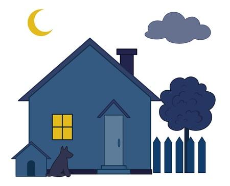 datcha: Maison de campagne avec le chenil et l'arbre dans un jardin, nuit noire