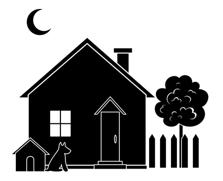 dacha: House with dog kennel and tree, black silhouette  Vector Illustration