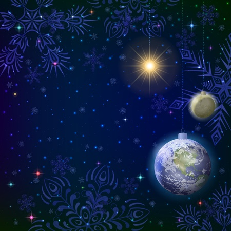 Symbolic background, snowflakes in space, Earth, Moon and Sun as Christmas balls   Vector