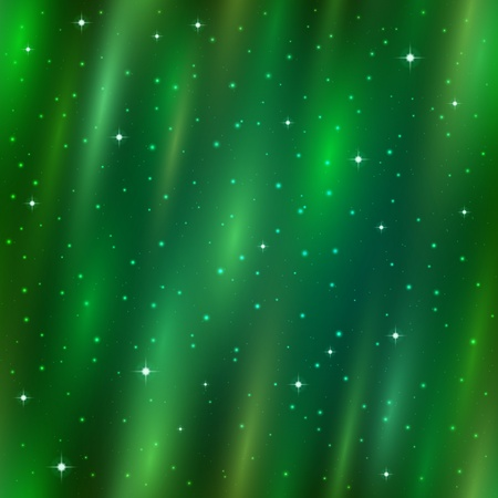 Abstract seamless background, green Aurora Borealis in sky, stars and cosmic rays  Vector