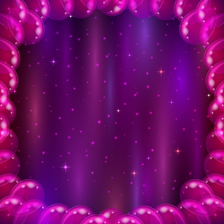 Symbolic abstract background with balloons frame and space with stars and cosmic rays Vector
