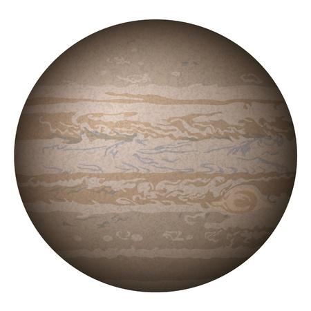 jupiter: Realistic planet Jupiter isolated on white background