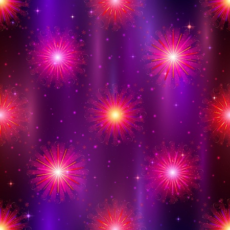 Firework background seamless, lilac and violet on night sky  Pattern for holiday design    Vector