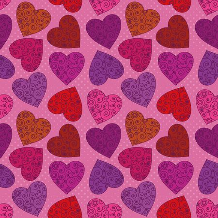 Valentine holiday seamless background with hearts, abstract colorful pattern    Stock Vector - 22814823
