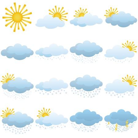 natural phenomena: Set of weather icons, illustrating the various natural phenomena  Vector
