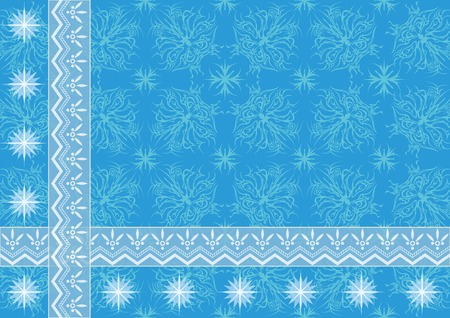 Blue holiday background with abstract floral patterns, borders and stars  Eps10, contains transparencies  Vector Vector